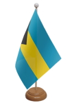 Bahamas Desk / Table Flag with wooden stand and base